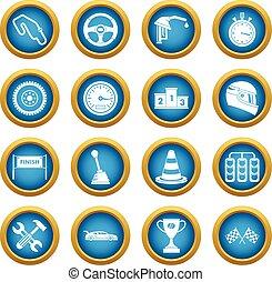 Racing speed icons blue circle set