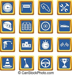 Racing speed icons set blue