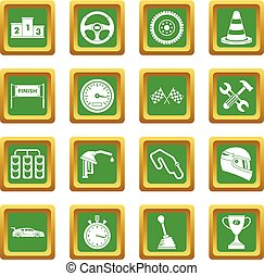 Racing speed icons set green