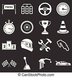 Racing speed icons set grey vector