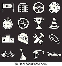 Racing speed icons set grey vector