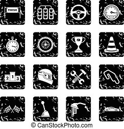 Racing speed icons set