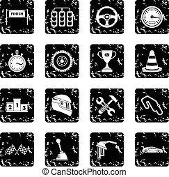Racing speed icons set