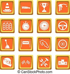 Racing speed icons set orange