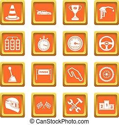 Racing speed icons set orange
