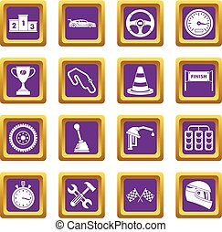 Racing speed icons set purple