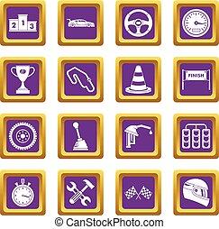 Racing speed icons set purple