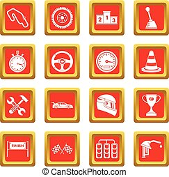Racing speed icons set red