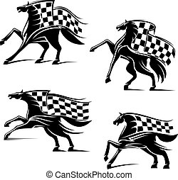 Racing sport emblems. Running horses with flags