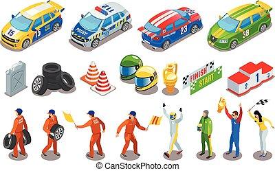 Racing Sports Icons Set