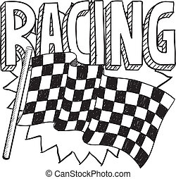 Racing sports sketch - Doodle style car racing sports...
