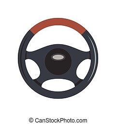 Racing steering wheel icon, flat style - Racing steering...