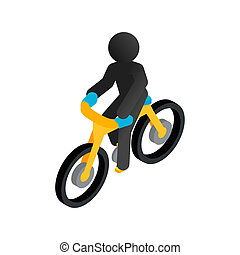 Racing syclist isometric 3d icon on a white background