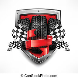 Racing symbols on shield, tires, ribbon and flags, vector...