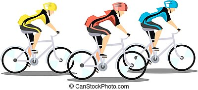 Racing three cyclists on white background
