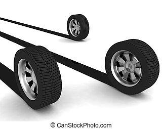 racing tyres - three dimensional rendered treys