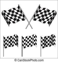 (racing)., vettore, bandiere, checkered
