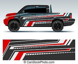 racing vogn, design., køretøj, emballere, vinyl, grafik, hos, striber, vektor, illustration