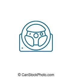 Racing wheel linear icon concept. Racing wheel line vector...