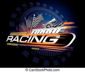 Racing with Checkered Flags Concept Vector