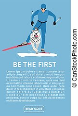 Racing with dogs-husky. Flat cartoon illustration. Running with a dog on skis