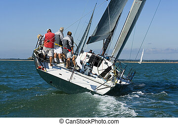 Racing Yacht - A racing yacht trying to catch up with the ...