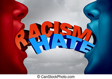 Racism and hate social issue as two racist people in a hate filled argument with text as a society current affair metaphor and symbol for racist intolerance for ethnic minorities with 3D illustration elements.