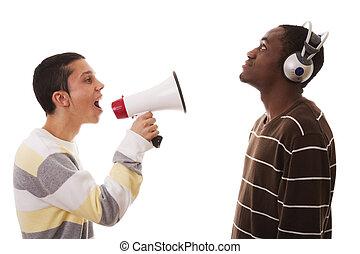 caucasian young man shouting to a african young man