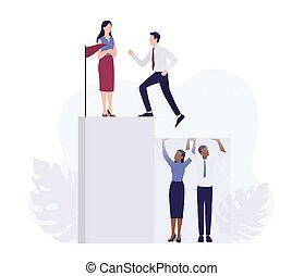 Racism concept. Discrimination and enequal treatment based on race. White businessman and business woman climbing a career ladder. Isolated vector illustration.