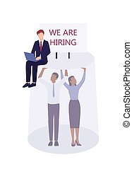 Racism concept. Discrimination and enequal treatment based on race. White businessman HR agent hiring only white people for a high post. Recruitment racism. Vector illustration isolated on white.