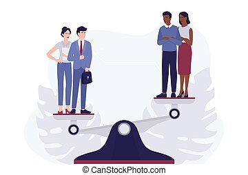 Racism concept. Discrimination and enequal treatment based on race. White man and woman against afro-american man and woman. Recruitment racism. Vector illustration isolated on white.
