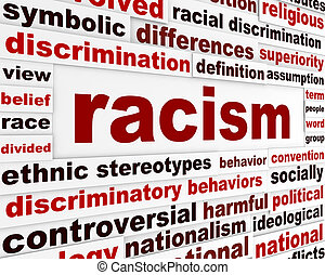 Racism humanity warning message concept. Discrimination issue creative poster design