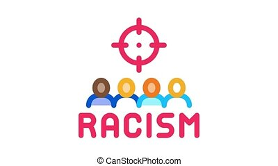 racism target aim Icon Animation. color racism target aim animated icon on white background