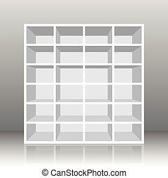 Rack Book Shelf White - White empty rack or bookshelf with...