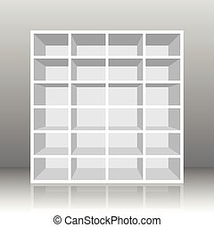 Rack Book Shelf White - White empty rack or bookshelf with...