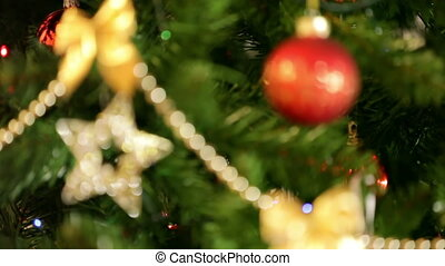 rack focus christmas lights backgro