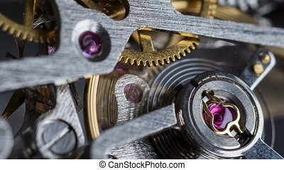 Rack focus macro shot of clockwork - Rack focus macro shot...
