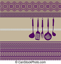Rack of kitchen utensils, Vector Illustration