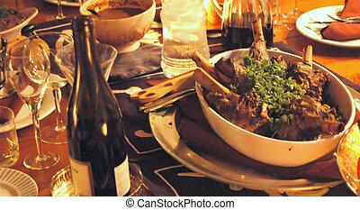Rack of Lamb - Rack of lamb on the dinner table.