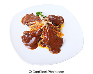 Rack of lamb with gravy - Rack of lamb with sauce and...