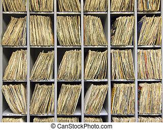 Rack of vinyl records