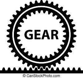 rack pinion spur gear wheel symbol - illustration for the...