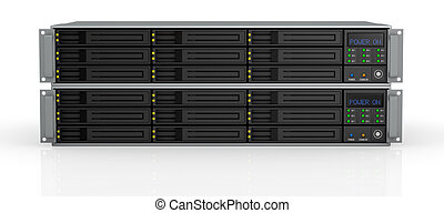 rack server - front view of two server racks with nine hd...
