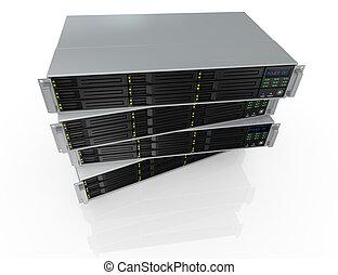 rack server - top view of four server racks with nine hd ...