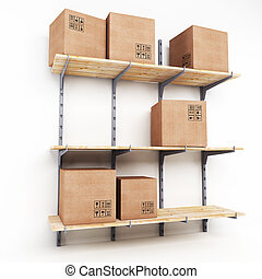 Rack with cardboard boxes isolated on a white background