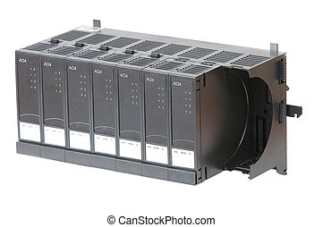 Industrial Input/Output modules in rack, used in process automation. Isolated on white.
