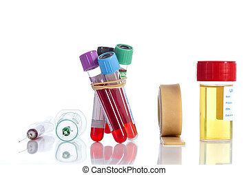 rack with several tubes blood , plates petri and the background urine samples in the laboratory