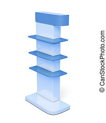 Rack with shelves on a white background. 3d rendering