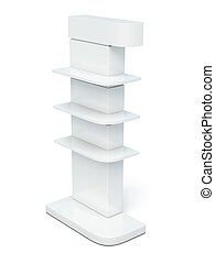 Rack with shelves on a white background. 3d render image