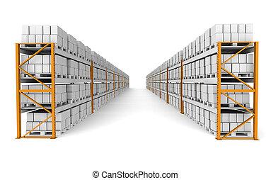 Rack X 20  - 2 Rows of Shelve racks, perspective view